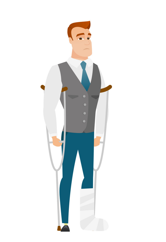 Injured caucasian businessman with broken leg on crutches. Businessman with broken leg in bandages. Full length of man with broken leg. Vector flat design illustration isolated on white background.