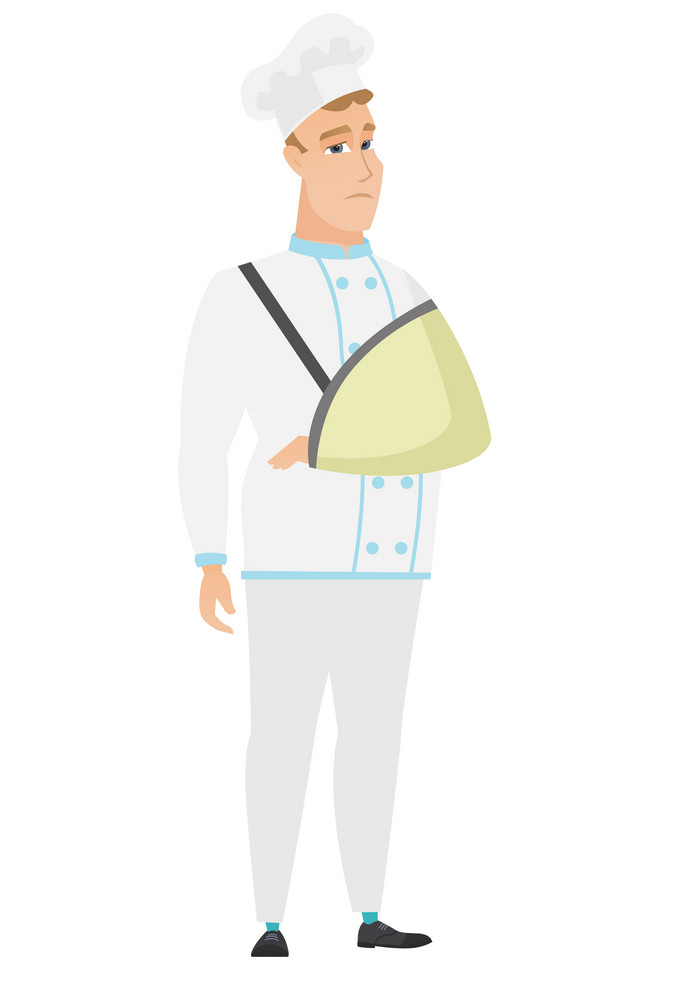 Injured caucasian chef cook wearing an arm brace. Chef cook with broken arm in sling. Full length of chef cook in uniform with broken arm. Vector flat design illustration isolated on white background.