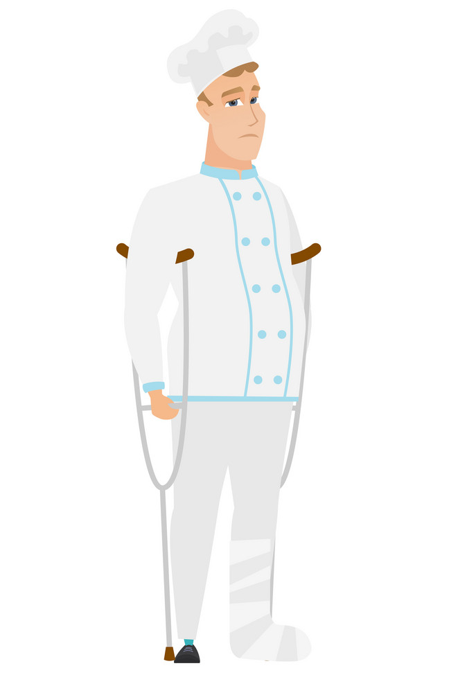 Injured caucasian chef cook with broken leg on crutches. Chef cook with broken leg in bandages. Full length of chef cook with broken leg. Vector flat design illustration isolated on white background.