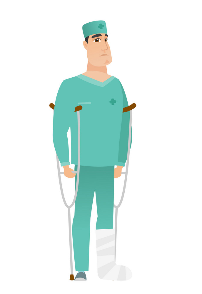 Injured caucasian doctor with broken leg on crutches. Doctor with broken leg in bandages. Full length of young doctor with broken leg. Vector flat design illustration isolated on white background.