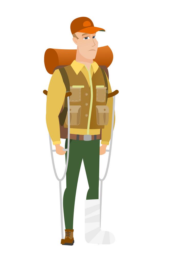 Injured caucasian traveler with broken leg on crutches. Traveler with broken leg in bandages. Full length of man with broken leg. Vector flat design illustration isolated on white background.
