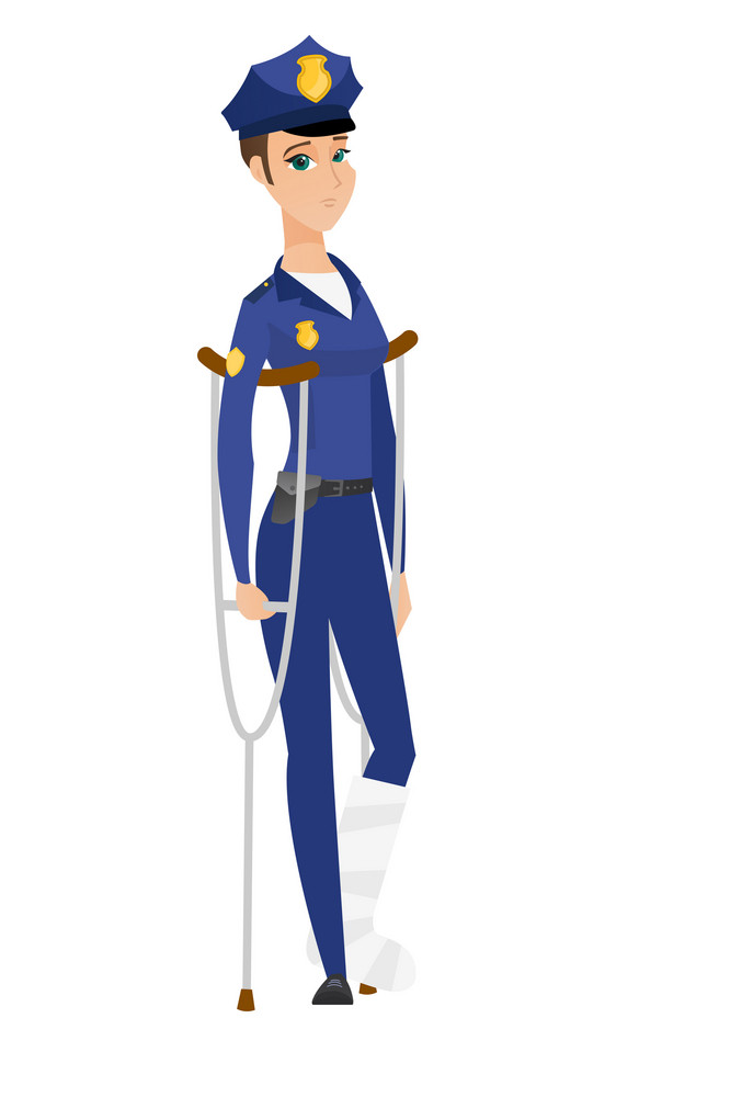 Injured police woman with broken leg on crutches. Police woman with broken leg in bandages. Full length of police woman with broken leg. Vector flat design illustration isolated on white background.