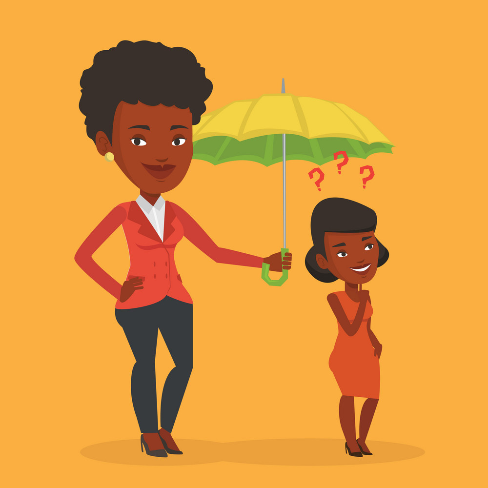 Insurance agent holding umbrella over woman. An african woman standing under umbrella and question marks. Concept of insurance. Vector flat design illustration in the circle isolated on background.
