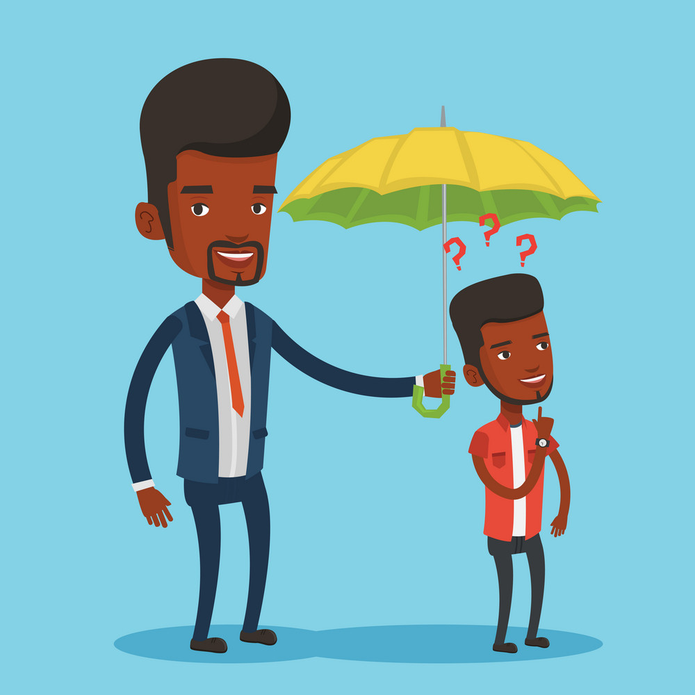 Insurance agent holding umbrella over young man. An african man standing under umbrella and question marks. Concept of insurance. Vector flat design illustration in the circle isolated on background.