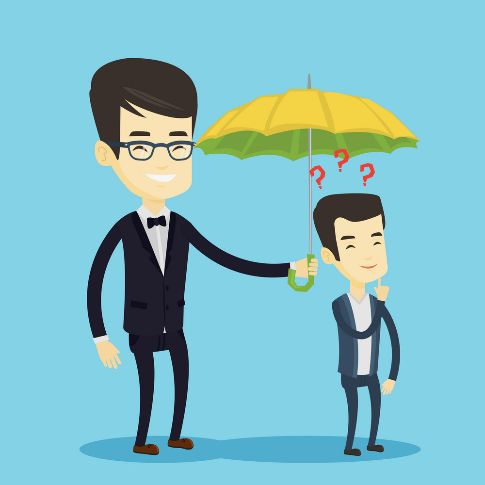 Insurance agent holding umbrella over young man. Asian man standing under umbrella and question marks. Concept of insurance and protection in business. Vector flat design illustration. Square layout.