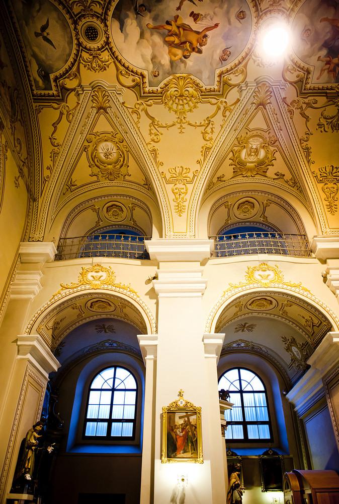 Interior of beautiful european church ready for wedding ceremony.