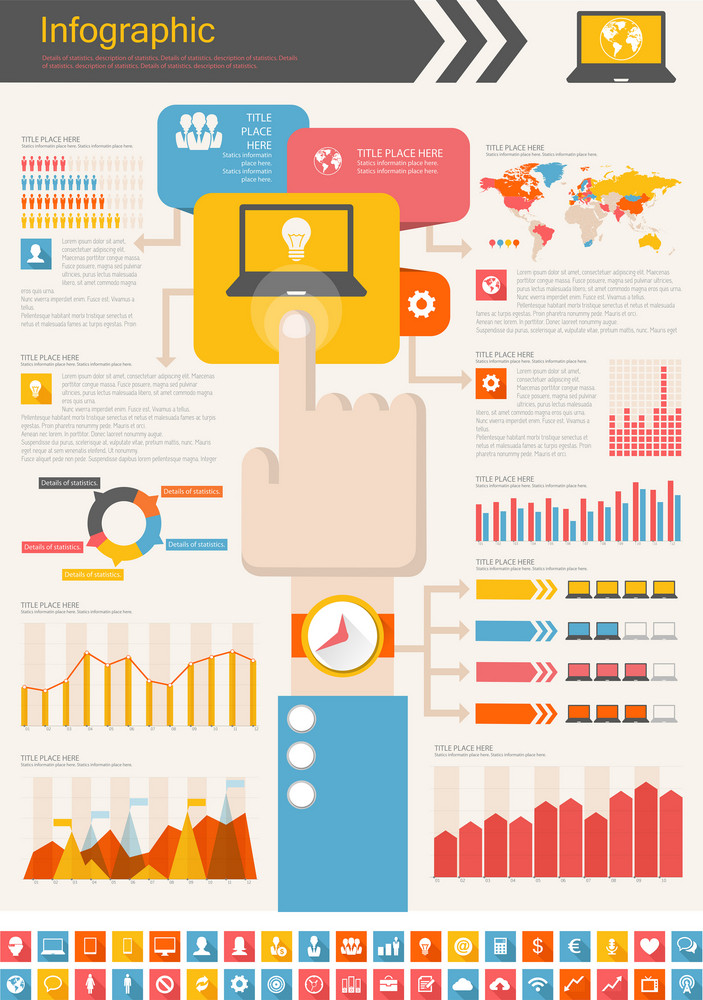 IT Industry Infographic Elements. Opportunity to Highlight any Country. Vector Illustration EPS 10.