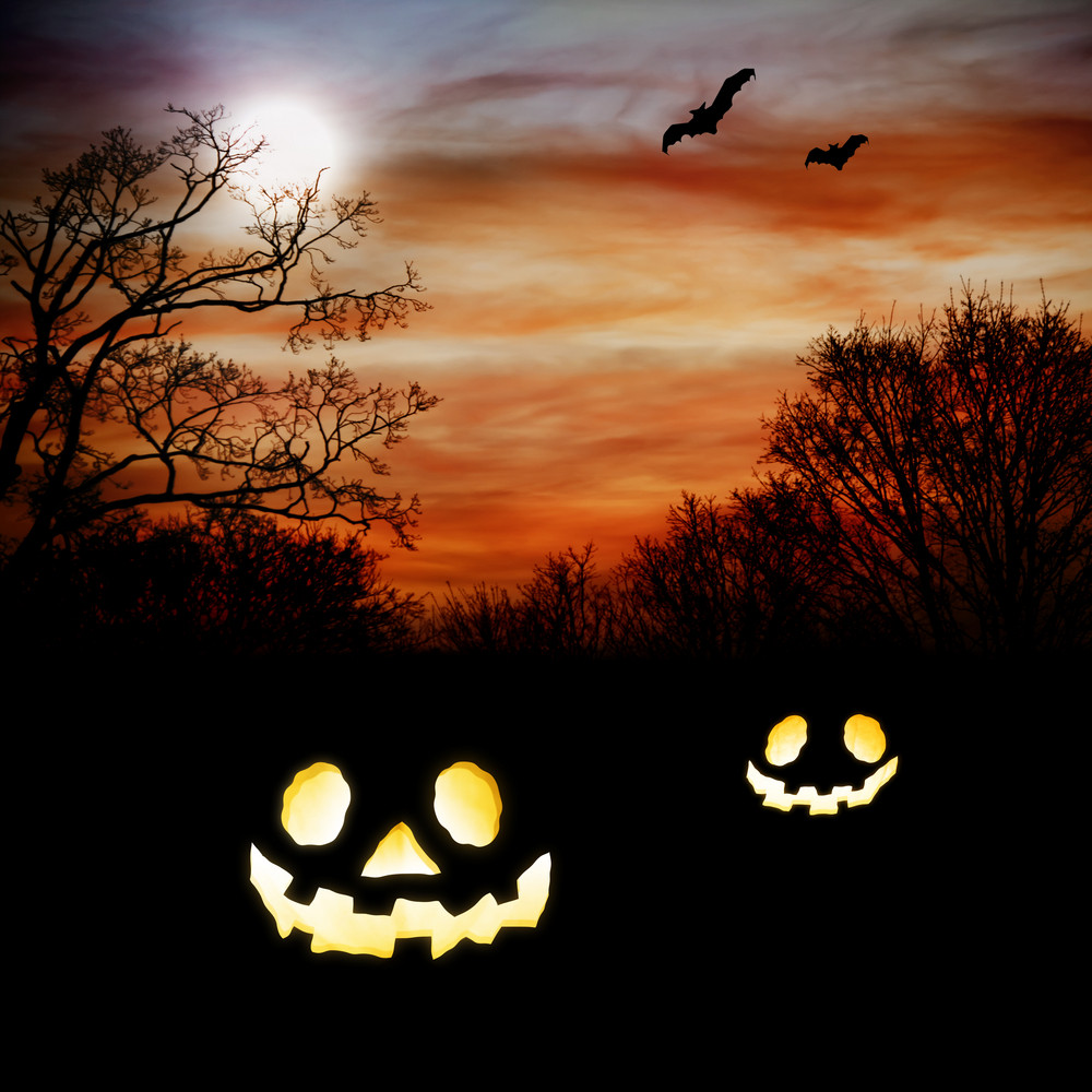 Jack O Lanterns with Autumn Scenery with bats