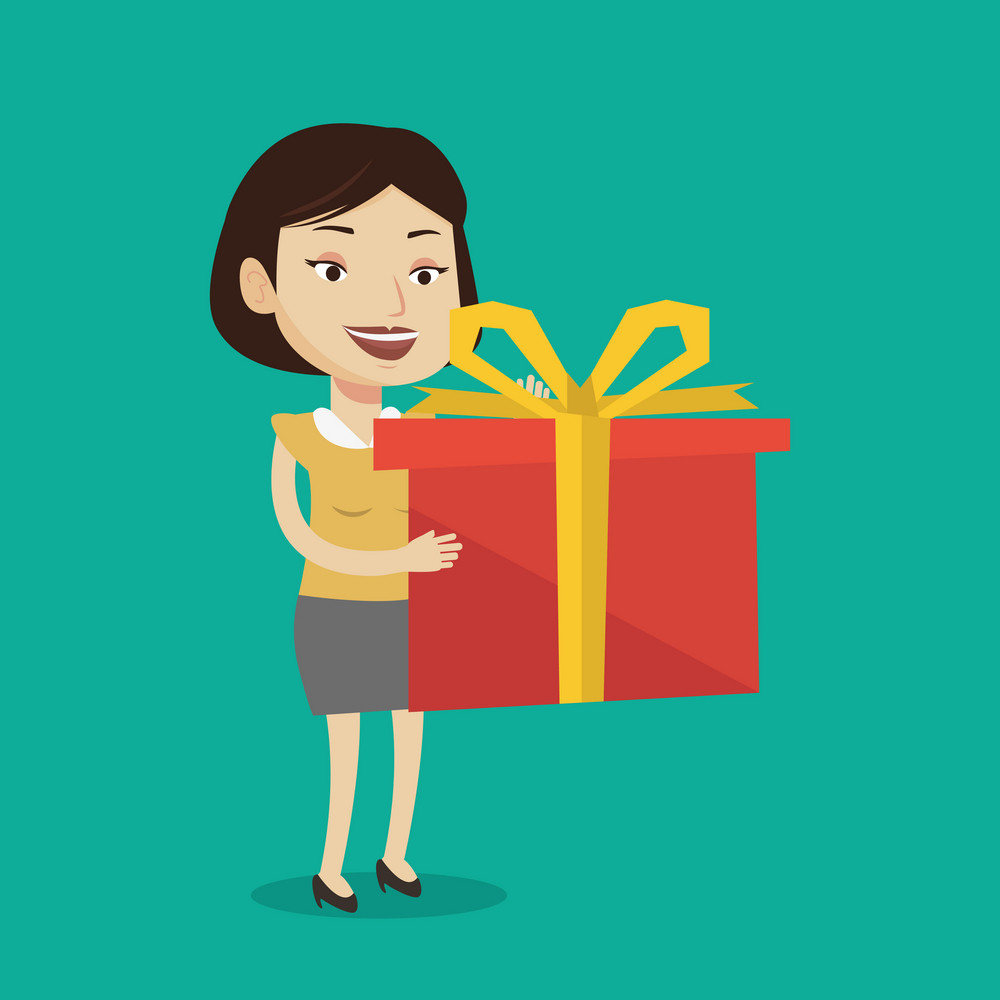 Joyful caucasian woman holding a box with gifts in hands. Happy woman holding gift box. Young woman standing with gift box. Woman buying a present. Vector flat design illustration. Square layout.