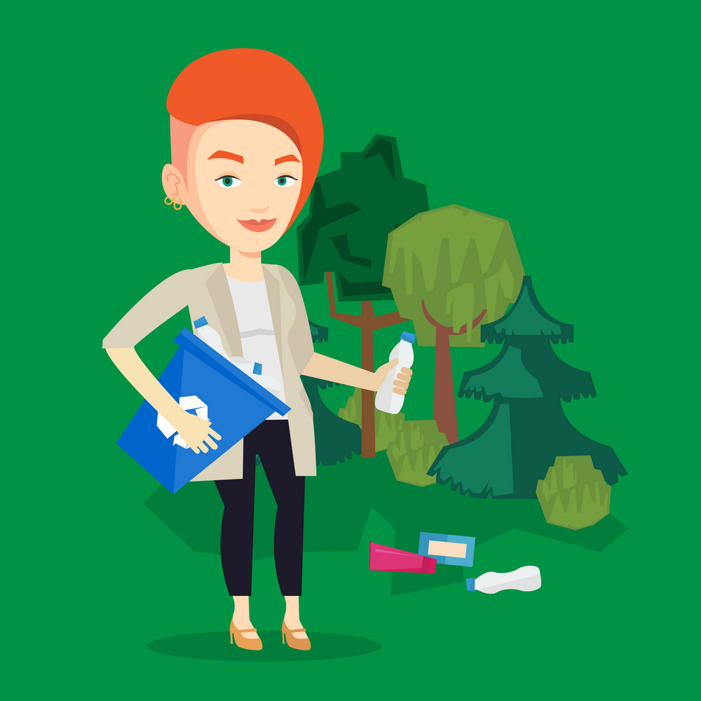 Joyful woman with recycling bin in hand picking up used plastic bottles. Caucasian woman collecting garbage in recycle bin. Waste recycling concept. Vector flat design illustration. Square layout.