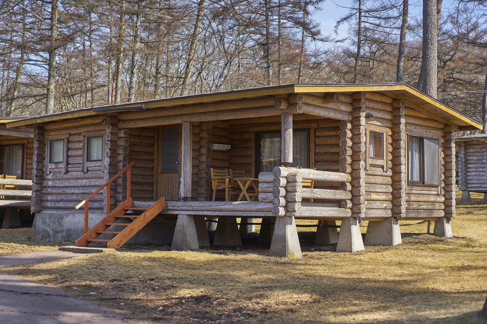 Karuizawa,Japan - 30,March,2015 :Karuizawa wooden forester cottage . Karuizawa is one of the few ski resorts in Japan to offer both hotel rooms and individual cottages. Conveniently located just minutes from the bullet train station and ski area.