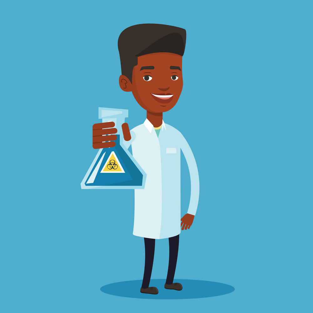 Laboratory assistant holding a flask with biohazard sign. An african-american laboratory assistant in medical gown showing a flask with biohazard sign. Vector flat design illustration. Square layout.