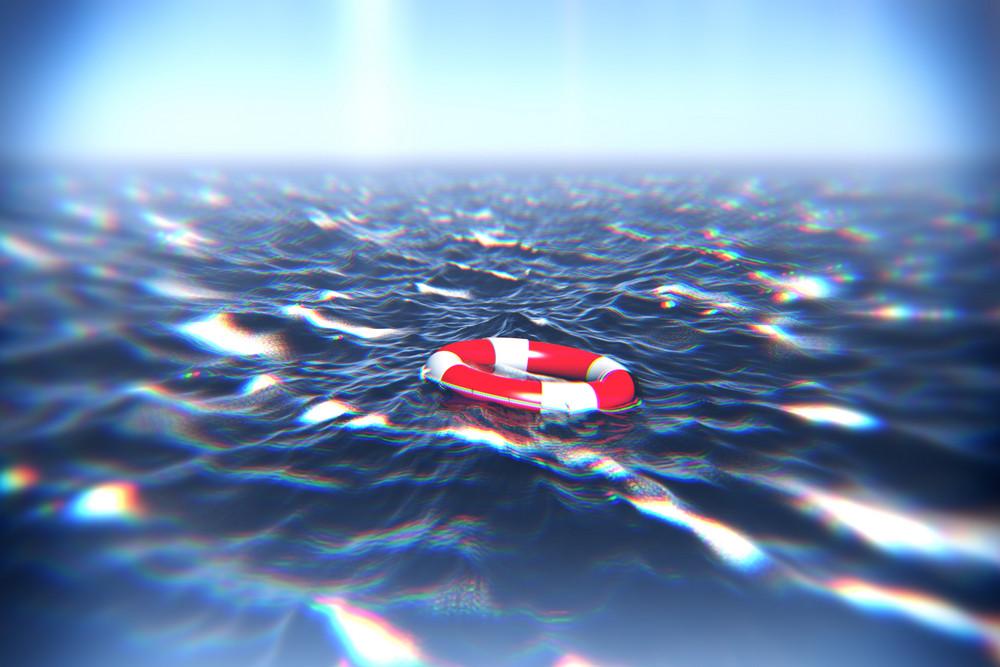 Lifebuoy floating in Deep Blue Sea