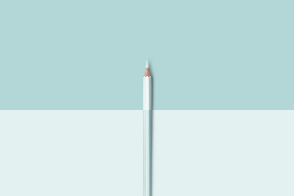 line of pastel light blue color pencils