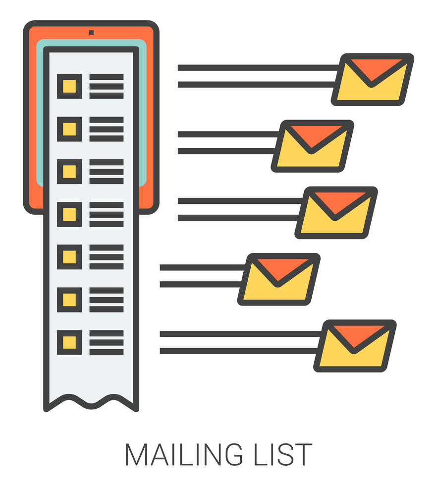 Mailing list infographic metaphor with line icons. Project mailing list concept for website and infographics. Vector line art icon isolated on white background.