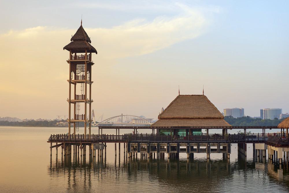 malaysia, Pullman Putrajaya Lakeside in sunset time Putrajaya,