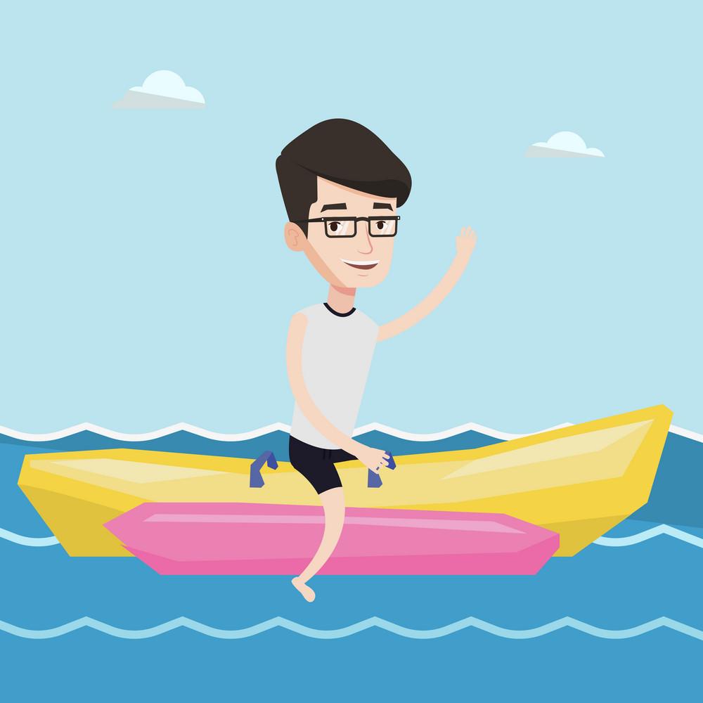 Male tourists riding a banana boat and waving hand. Young happy caucasian man having fun on banana boat in the sea. Man enjoying his summer vacation. Vector flat design illustration. Square layout.