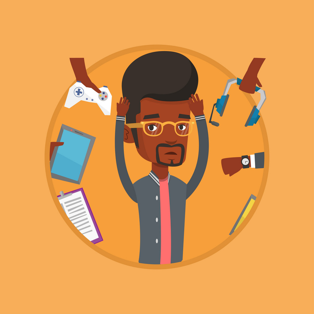 Man clutching his head and many hands with gadgets around him. Man in despair surrounded with gadgets. Man using many gadgets. Vector flat design illustration in the circle isolated on background.