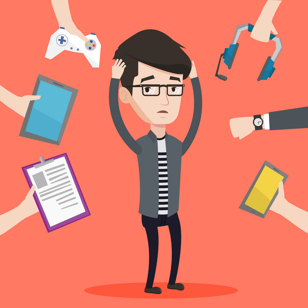 Man clutching his head and many hands with modern gadgets around him. Young man in despair surrounded with gadgets. Man using many electronic gadgets. Vector flat design illustration. Square layout.