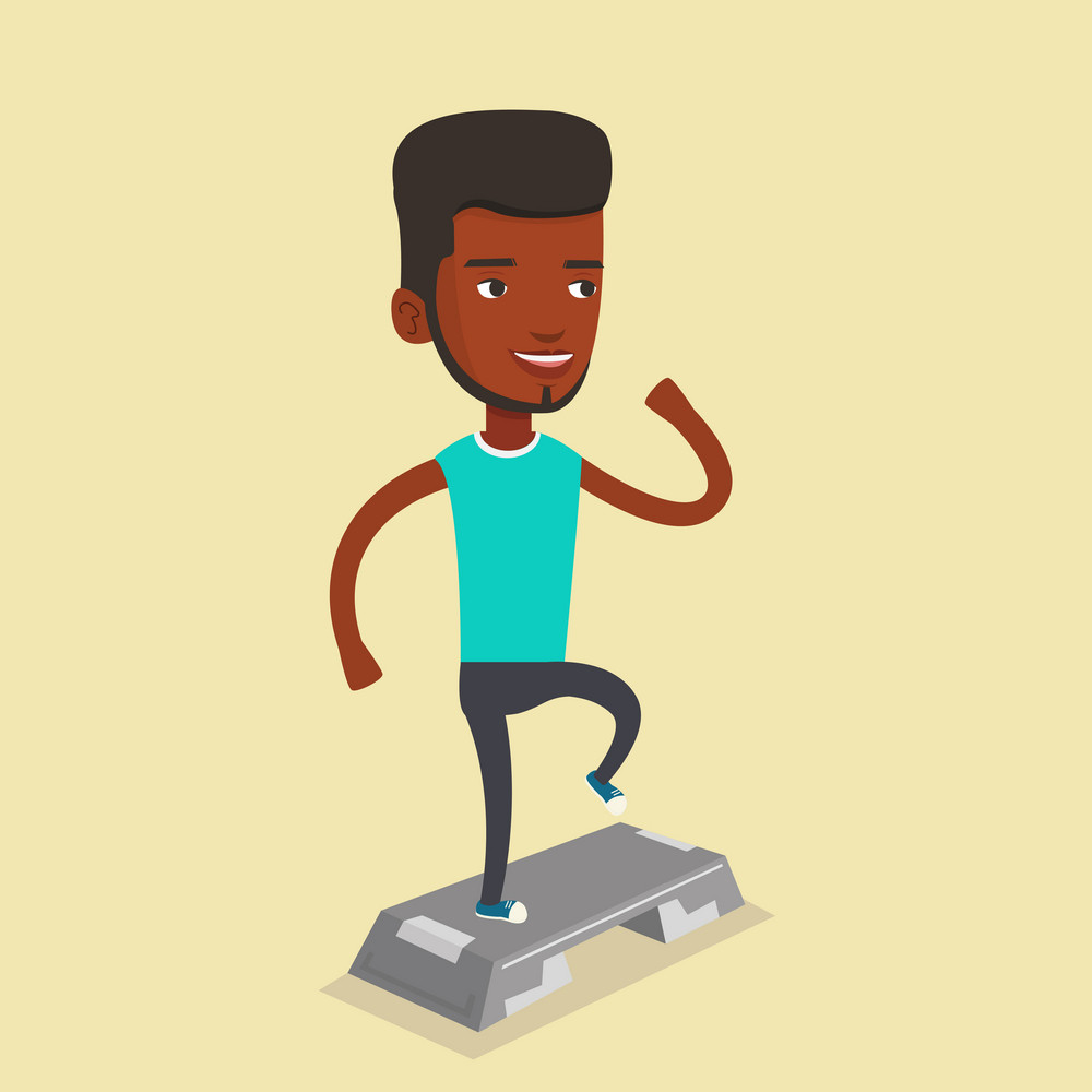Man doing step exercises. African-american man training with stepper in the gym. Man working out with stepper in the gym. Sportsman standing on stepper. Vector flat design illustration. Square layout.