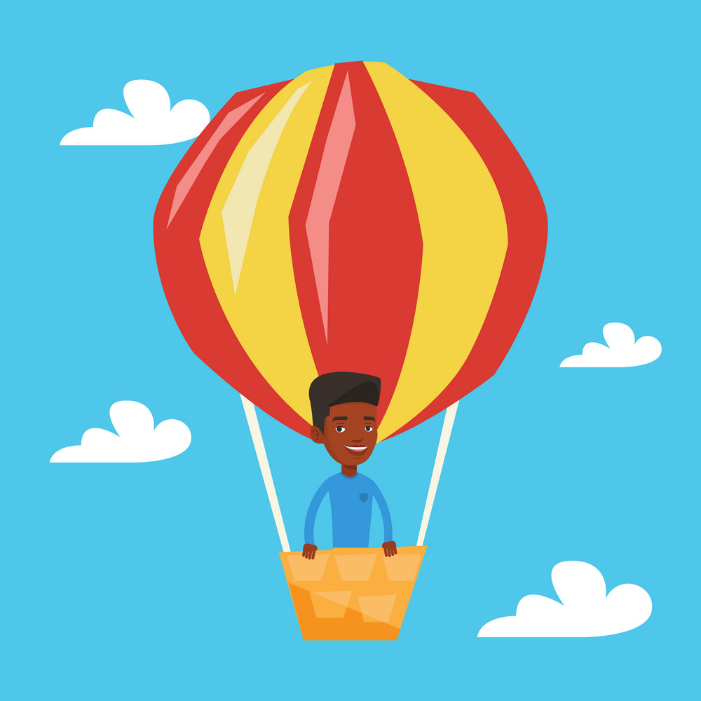 Man flying in a hot air balloon. African-american man standing in the basket of hot air balloon. Man traveling in aerostat. Guy riding a hot air balloon. Vector flat design illustration. Square layout