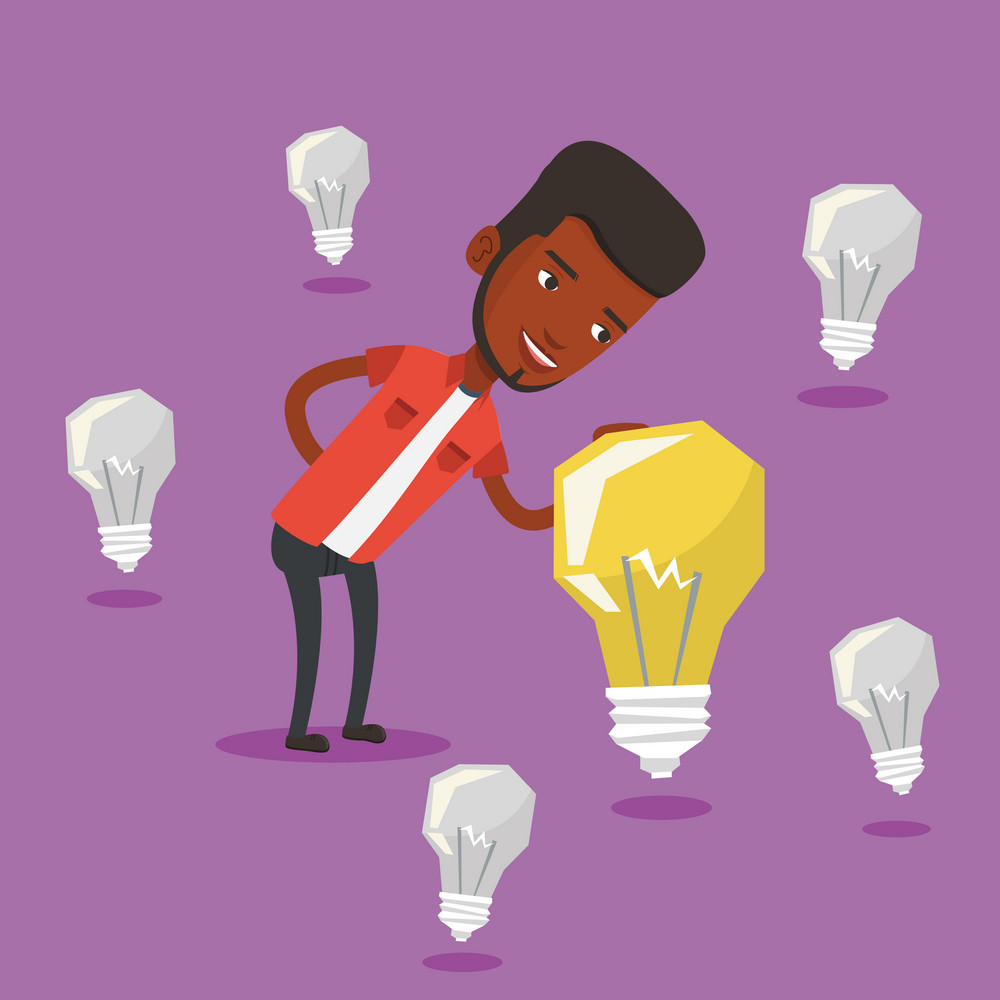 Man having business idea. African-american businessman standing among unlit idea bulbs and looking at the brightest light bulb. Business idea concept. Vector flat design illustration. Square layout.