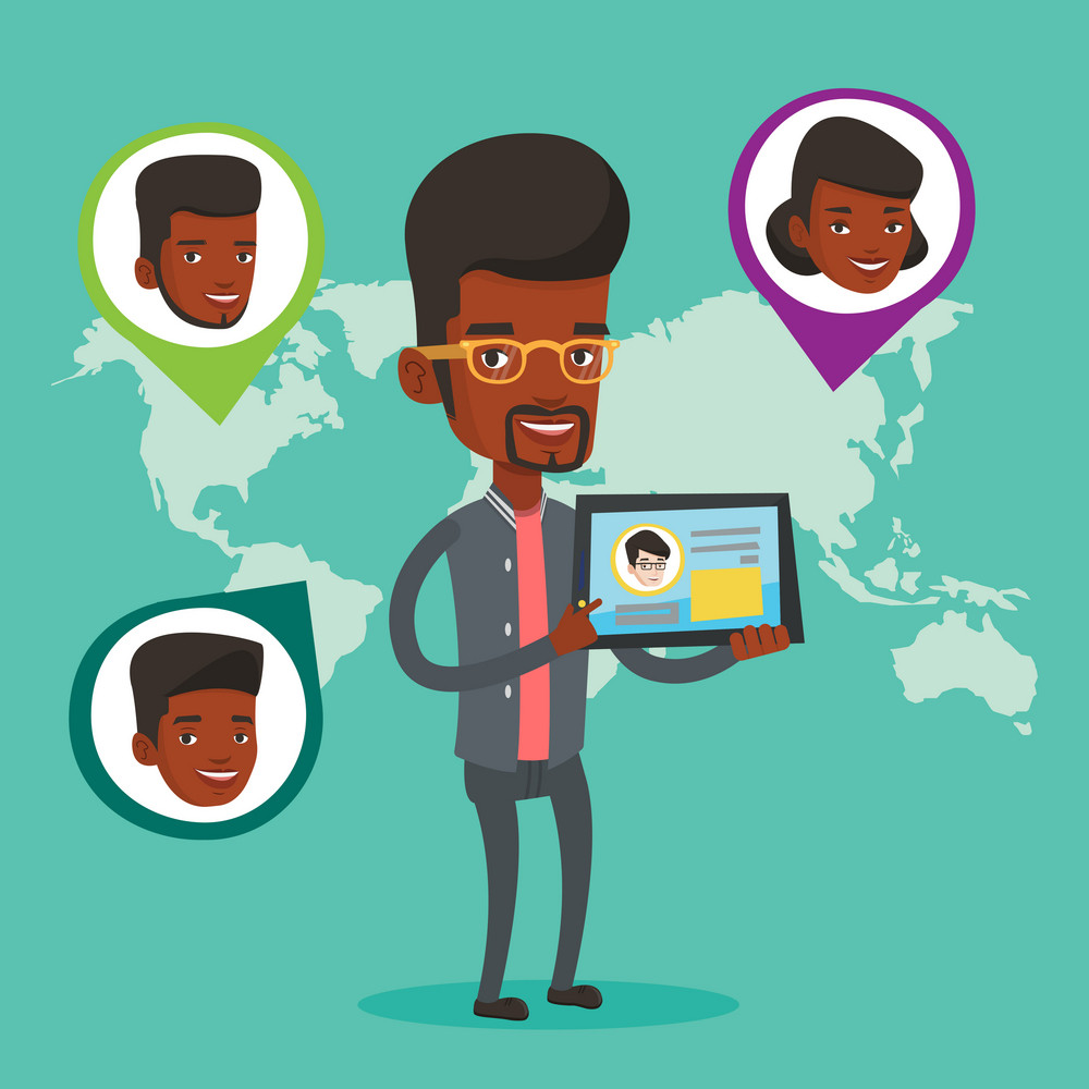 Man holding tablet computer with social network user profile on a screen. Man standing on the background of world map with avatars of social network. Vector flat design illustration. Square layout.