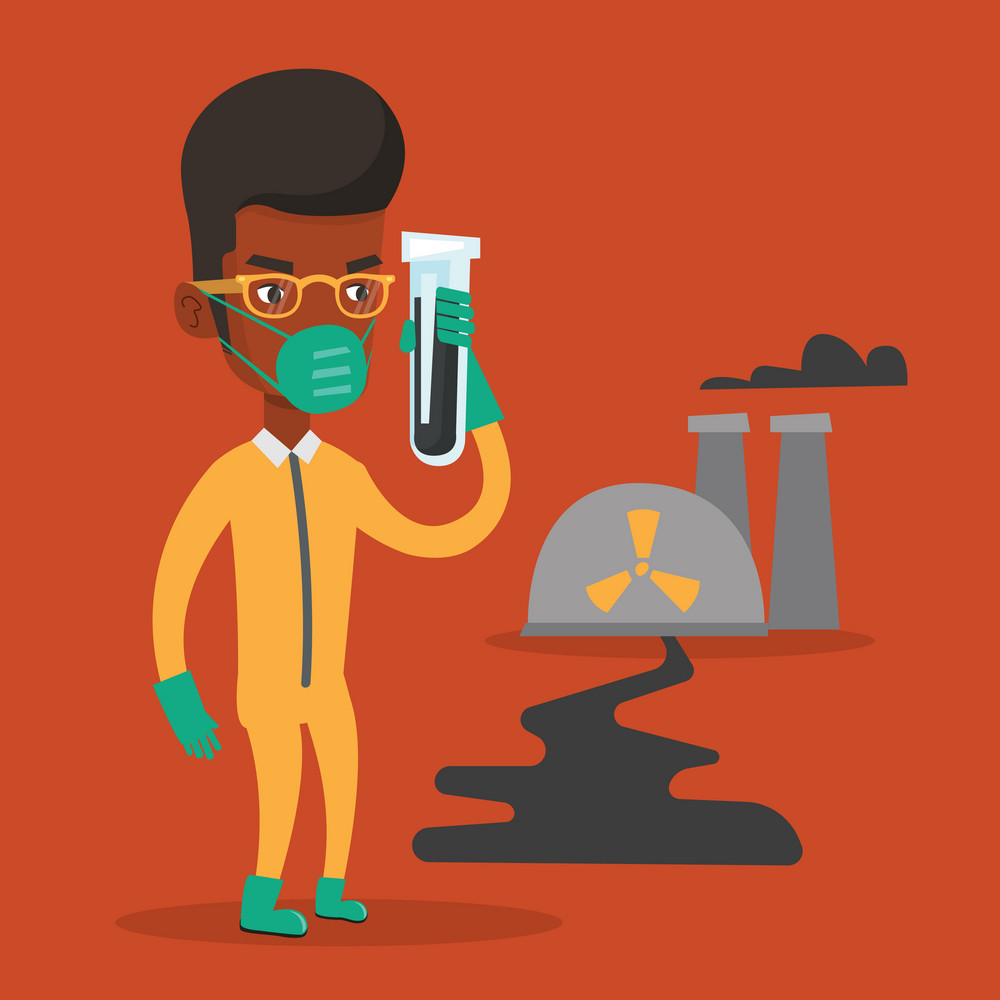 Man in radiation protective suit standing on the background of nuclear power plant. African-american man in radiation protective suit holding test-tube. Vector flat design illustration. Square layout.