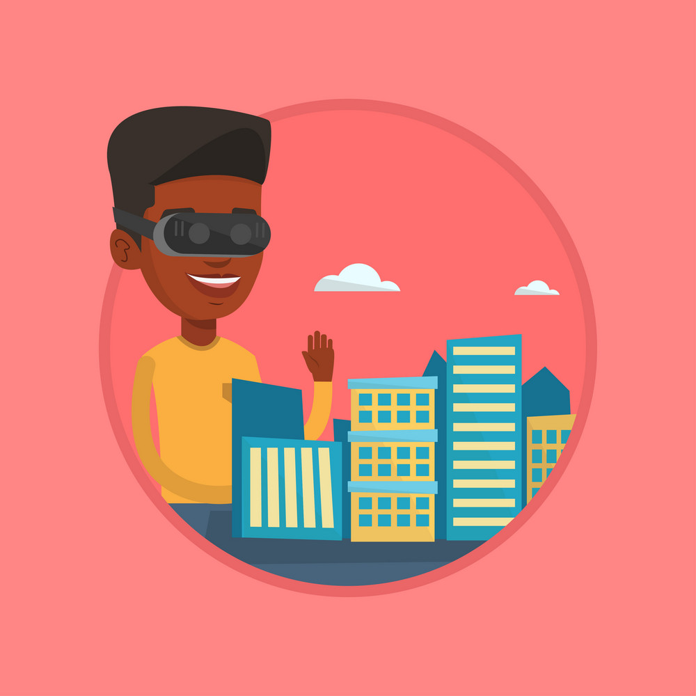 Man in virtual reality headset getting into vr world. Man developing an architectural project of city using virtual reality glasses. Vector flat design illustration in circle isolated on background.