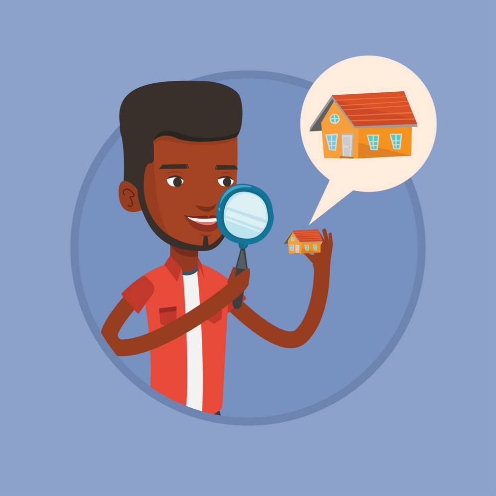 Man looking for a new house in real estate market. Man using a magnifying glass for seeking a new house in real estate market. Vector flat design illustration in the circle isolated on background.