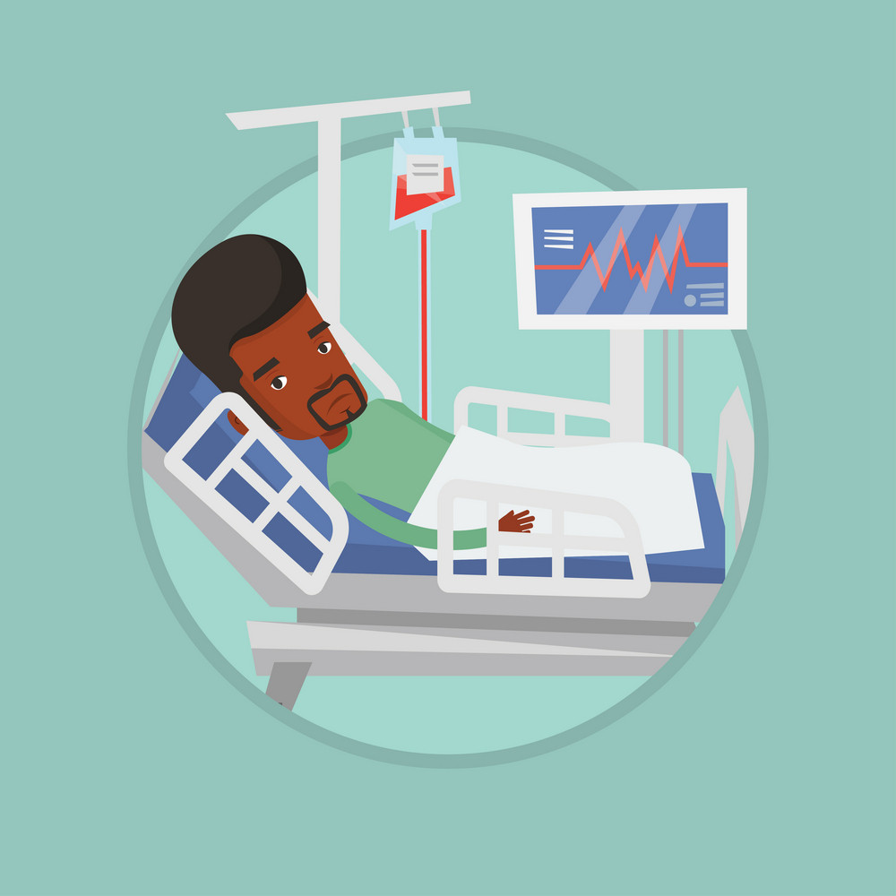 Man lying in bed in hospital. Patient resting in hospital bed with heart rate monitor. Patient during blood transfusion procedure. Vector flat design illustration in the circle isolated on background.