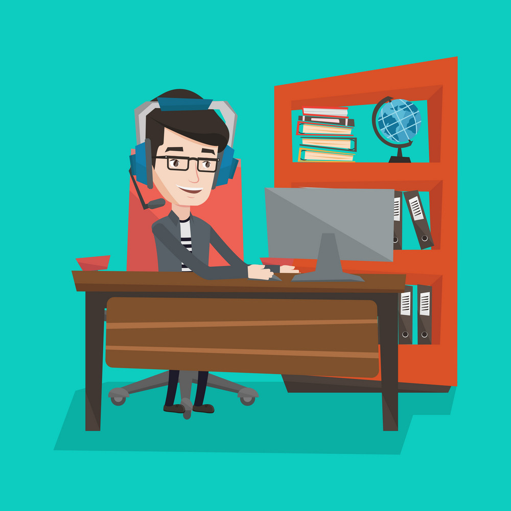 Man playing computer game. Businessman during video conference in office. Businessman with headset working on computer. Operator of call centre at work. Vector flat design illustration. Square layout.