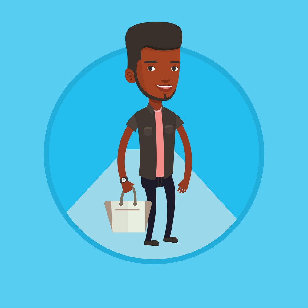 Man posing on catwalk during fashion event. Male model walking on catwalk during fashion week. Man on catwalk during fashion show. Vector flat design illustration in the circle isolated on background.