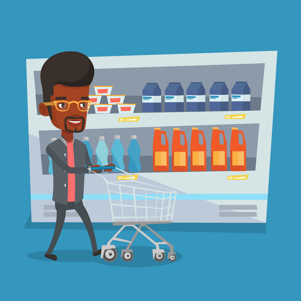Man pushing an empty supermarket cart. Customer shopping at supermarket with cart. African-american man walking with trolley on aisle at supermarket. Vector flat design illustration. Square layout.