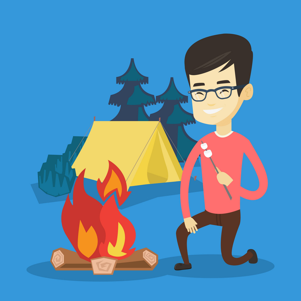 Man sitting near campfire with marshmallow. Man roasting marshmallow over campfire. Tourist relaxing near campfire on the background of camping site. Vector flat design illustration. Square layout.