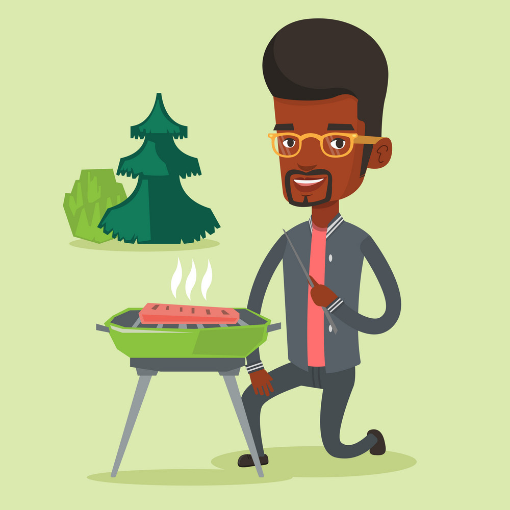 Man sitting next to barbecue grill in the park. An african-american man cooking steak on barbecue grill outdoors. Smiling man having a barbecue party. Vector flat design illustration. Square layout.