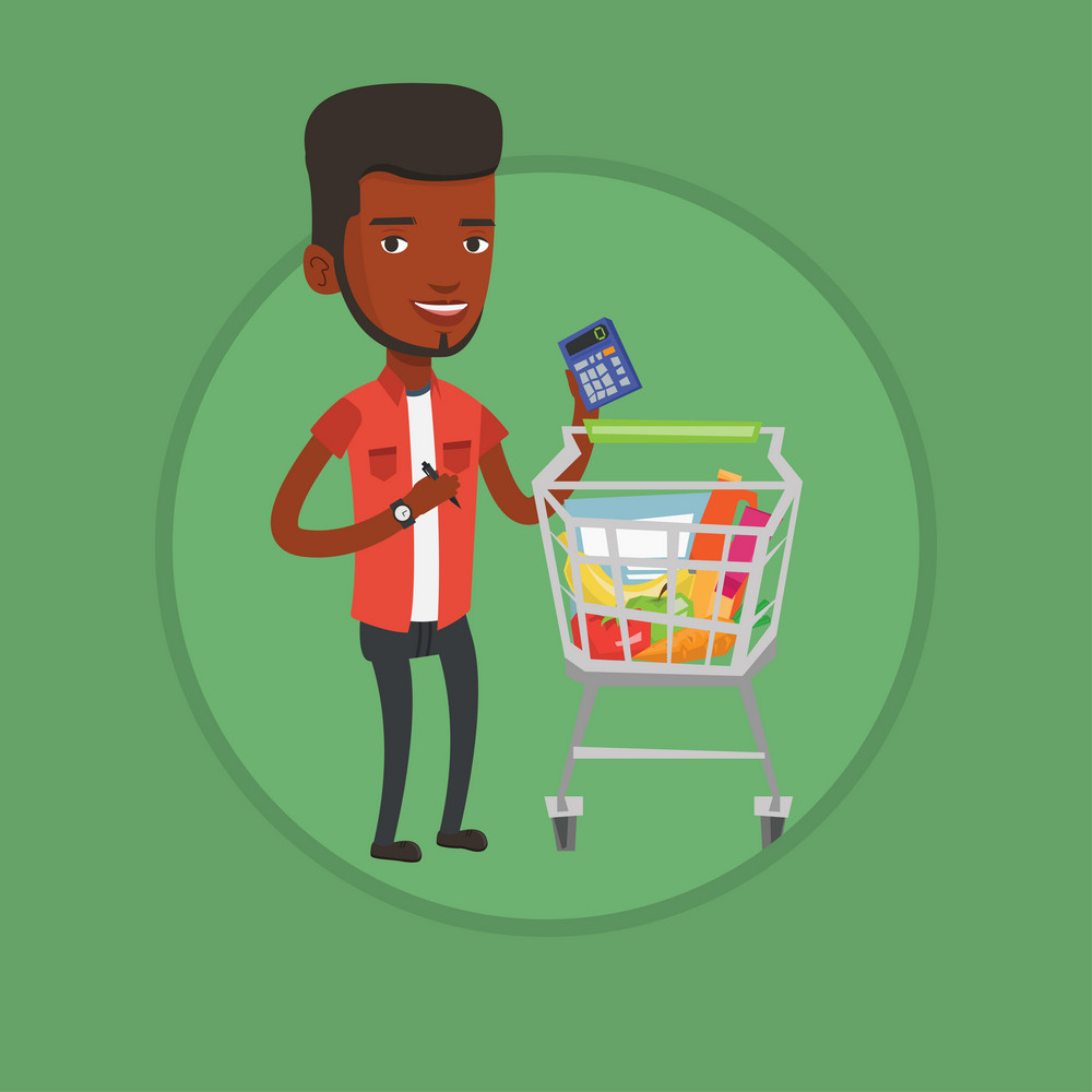 Man standing near supermarket trolley with calculator in hand. Man checking prices on calculator. Customer counting on calculator. Vector flat design illustration in circle isolated on background.