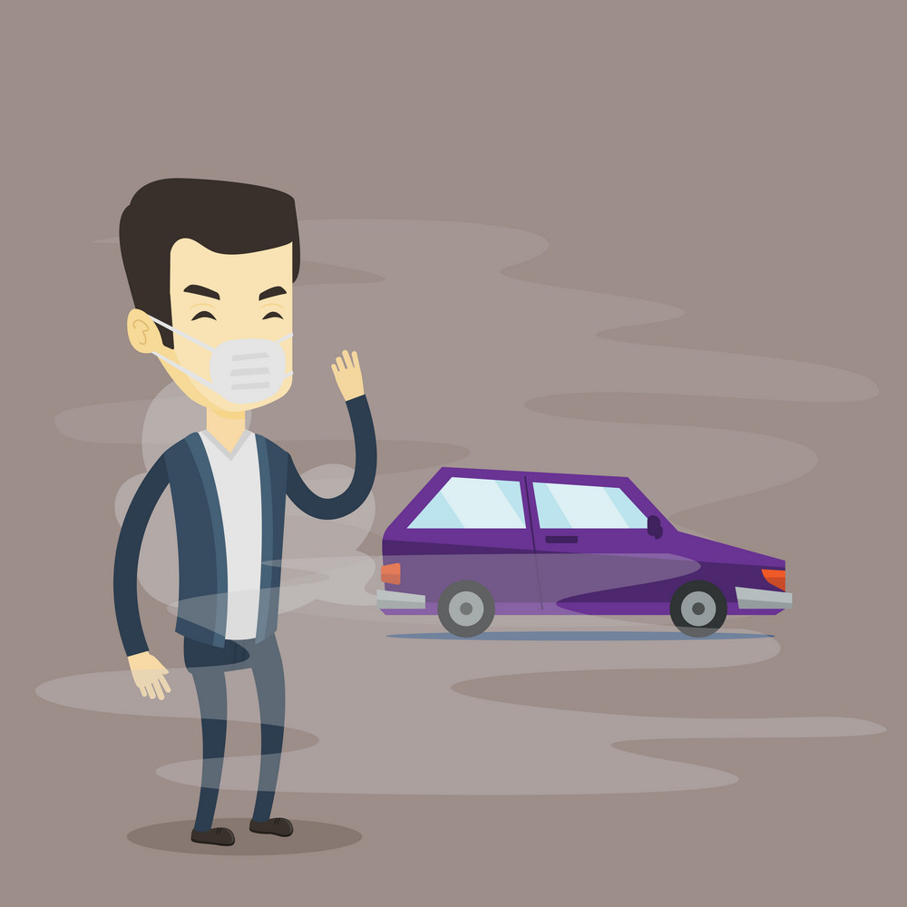 Man standing on the background of car with traffic fumes. Man wearing mask to reduce the effect of traffic pollution. Concept of toxic air pollution. Vector flat design illustration. Square layout.