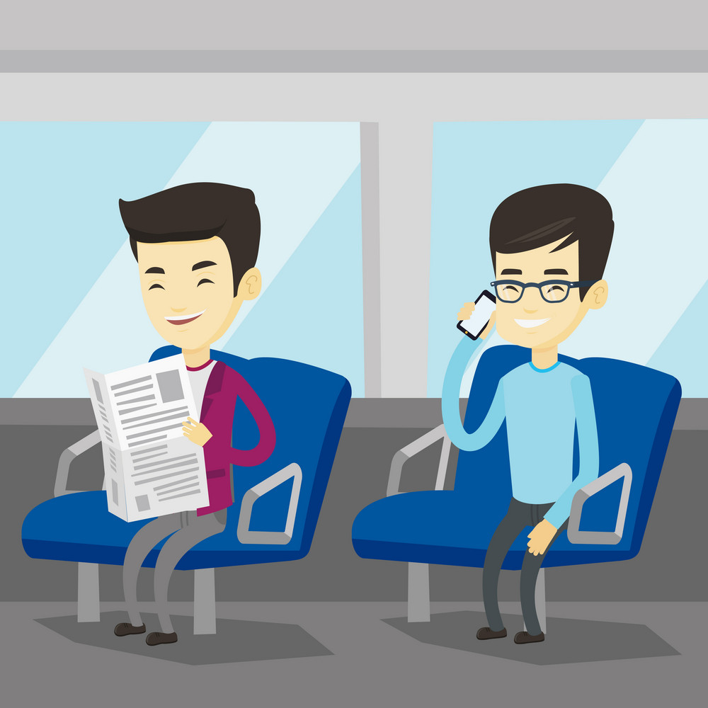 Man using mobile phone while traveling by public transport. Asian man reading newspaper in public transport. People traveling by public transport. Vector flat design illustration. Square layout.