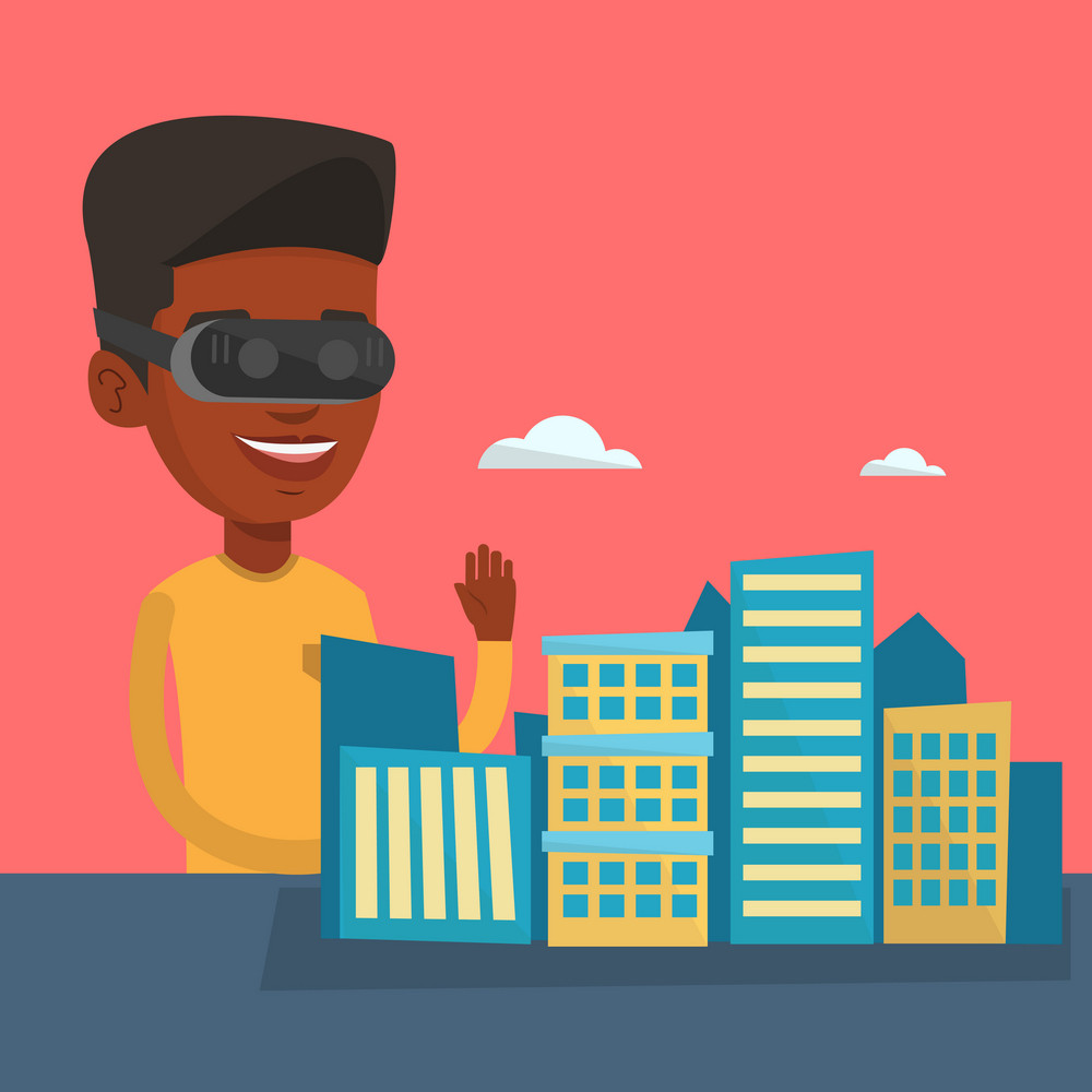 Man wearing virtual reality headset and getting into vr world. Man using virtual reality glasses for development of the project of city architecture. Vector flat design illustration. Square layout.