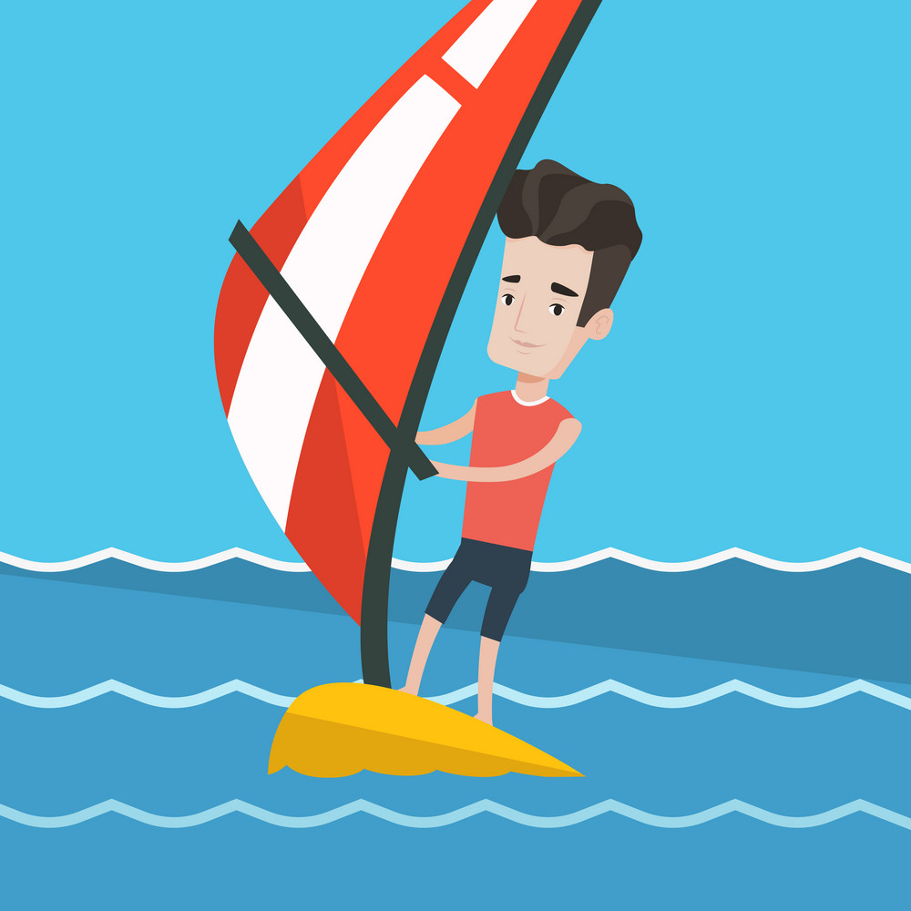Man windsurfing in a bright summer day. Man standing on the board with sail for surfing. Man learning to windsurf. Windsurfer training on the water. Vector flat design illustration. Square layout.