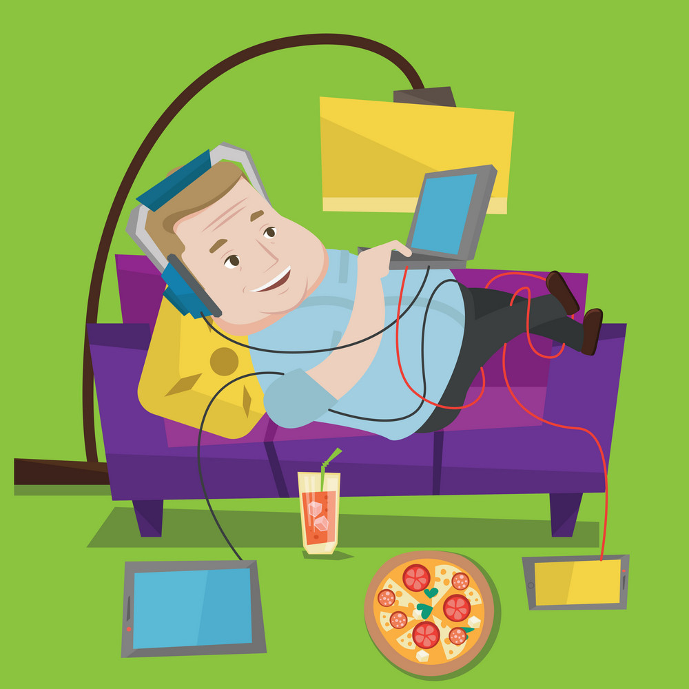 Man with belly relaxing on a sofa with many gadgets. Man lying on a sofa surrounded by gadgets and fast food. Fat man using gadgets at home. Vector flat design illustration. Square layout.