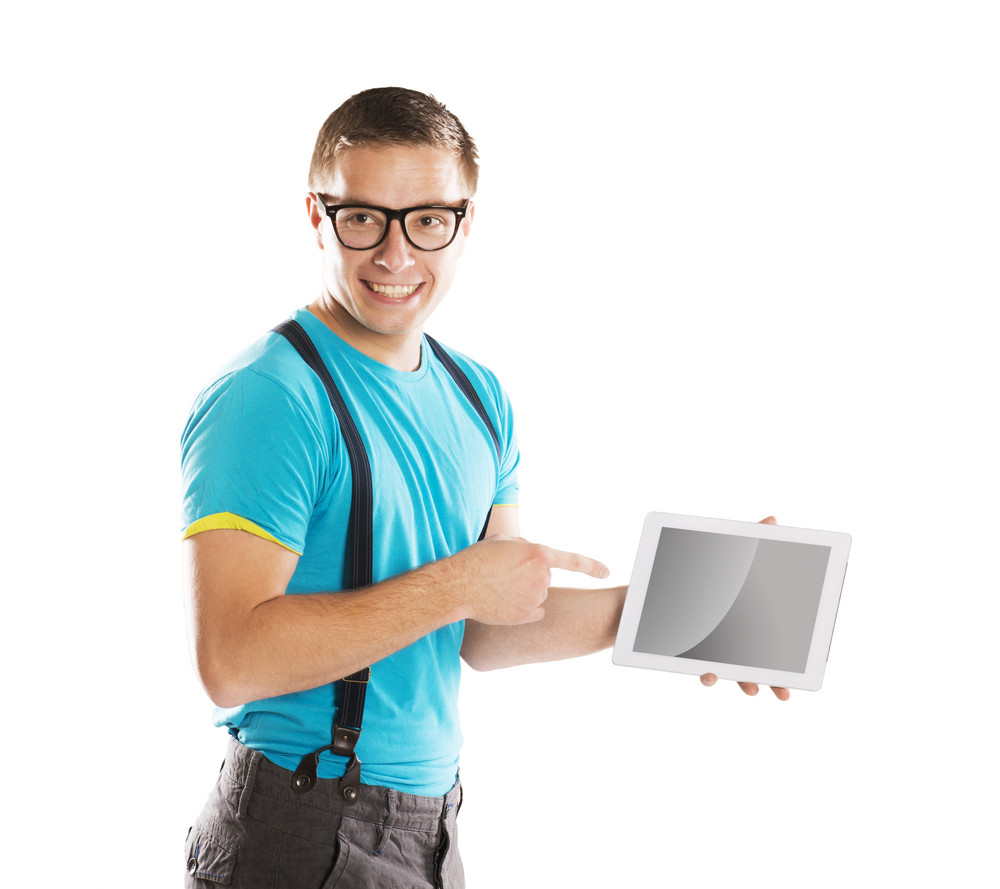 Man with pc tablet is isolated on white background