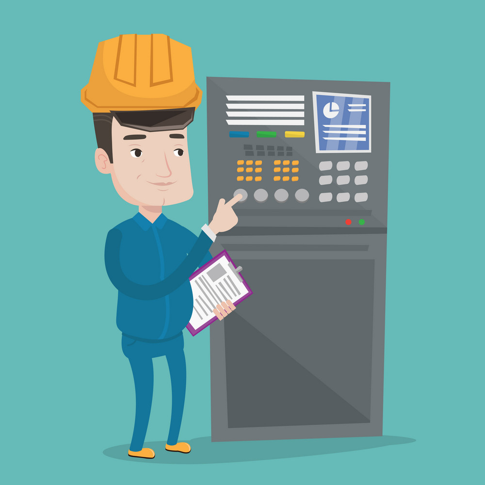 Man working on control panel. Worker in hard hat pressing button at control panel. Engineer with clipboard standing in front of the control panel. Vector flat design illustration. Square layout.