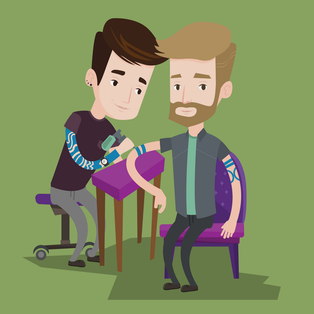 Master tattoo artist makes tattoo on the hand of a man with the beard. Tattooist makes a tattoo. Professional tattoo artist at work. Vector flat design illustration. Square layout.