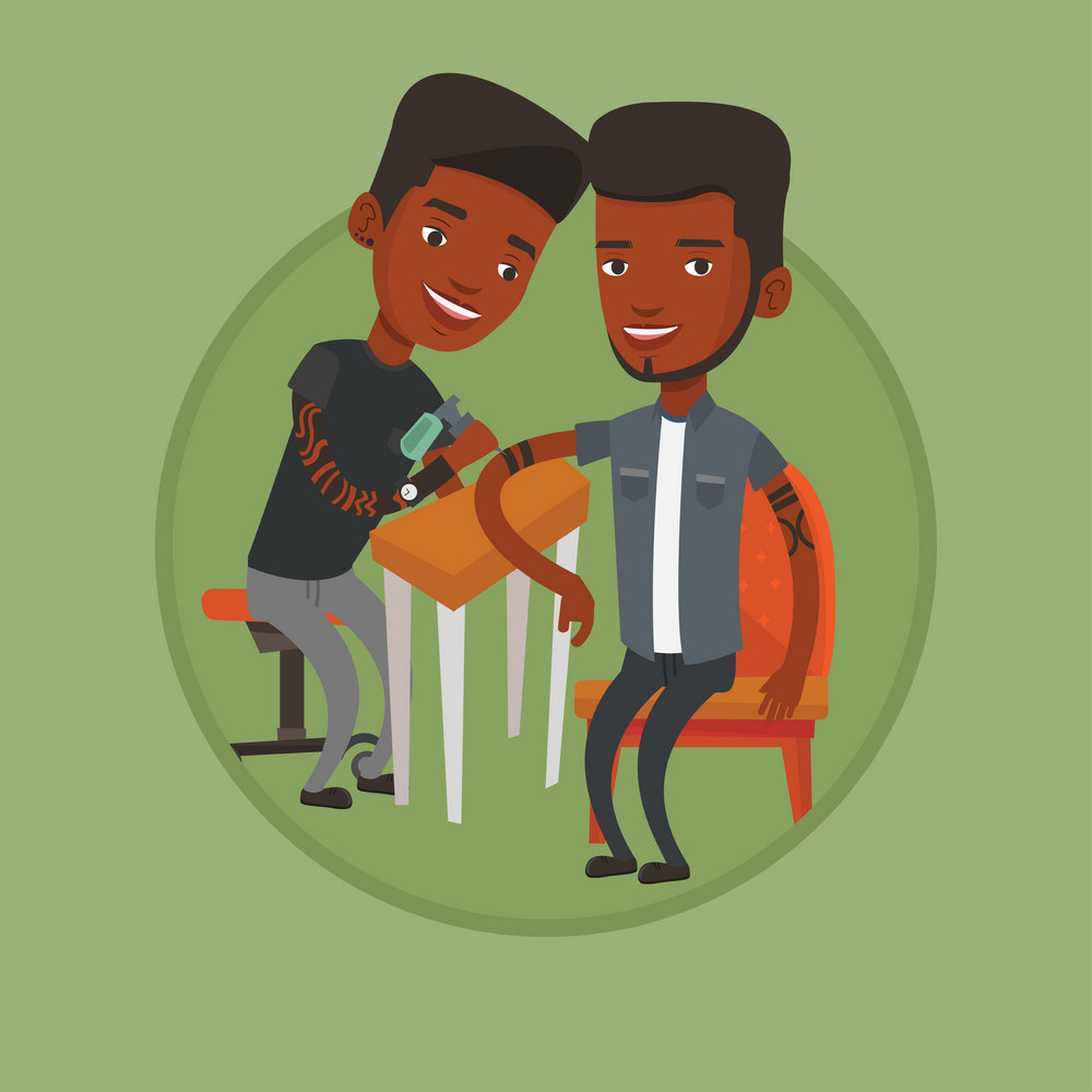 Master tattoo artist makes tattoo on the hand of young african man. Tattooist makes a tattoo. Professional tattoo artist at work. Vector flat design illustration in the circle isolated on background.