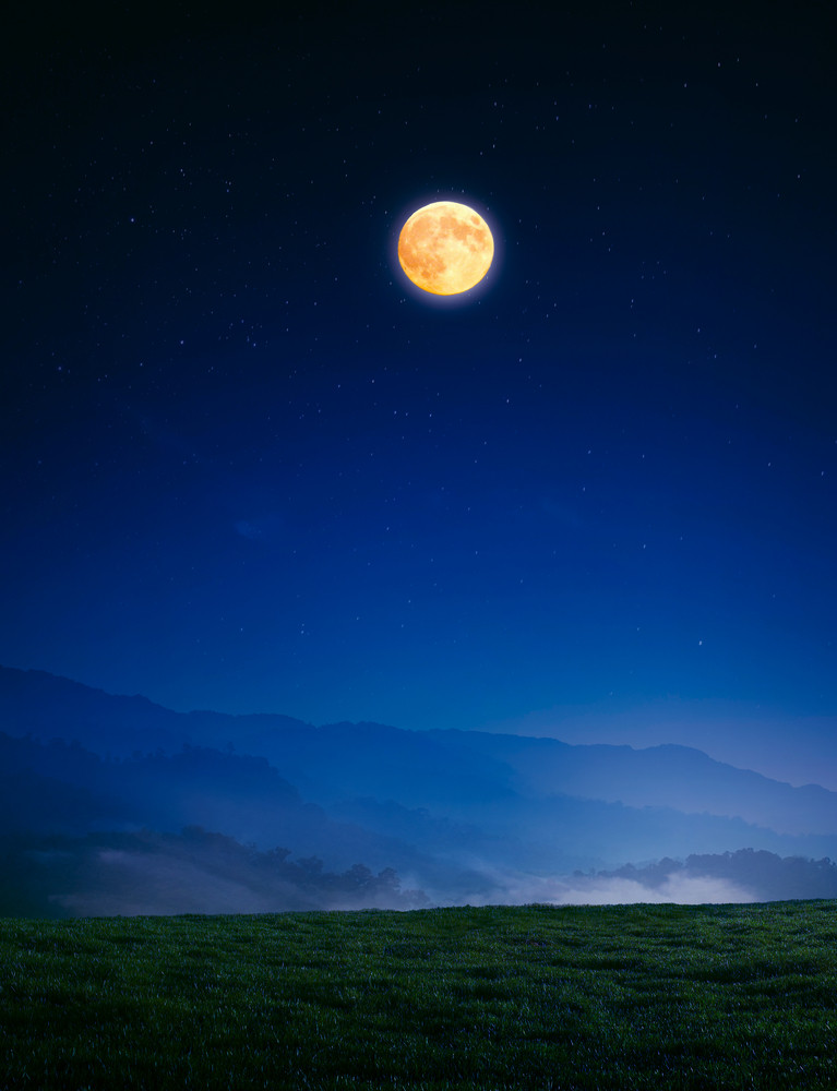 meadow with grass on a mountain top near forest at night in full moon light