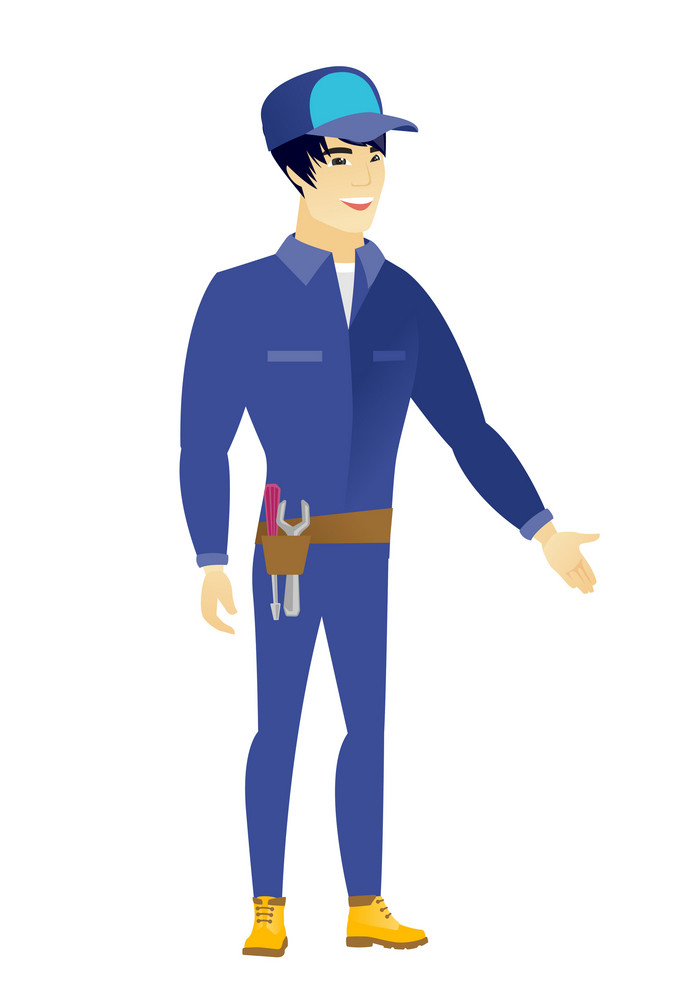 Mechanic with arm out in a welcoming gesture. Full length of welcoming young asian mechanic. Mechanic doing a welcome gesture. Vector flat design illustration isolated on white background.