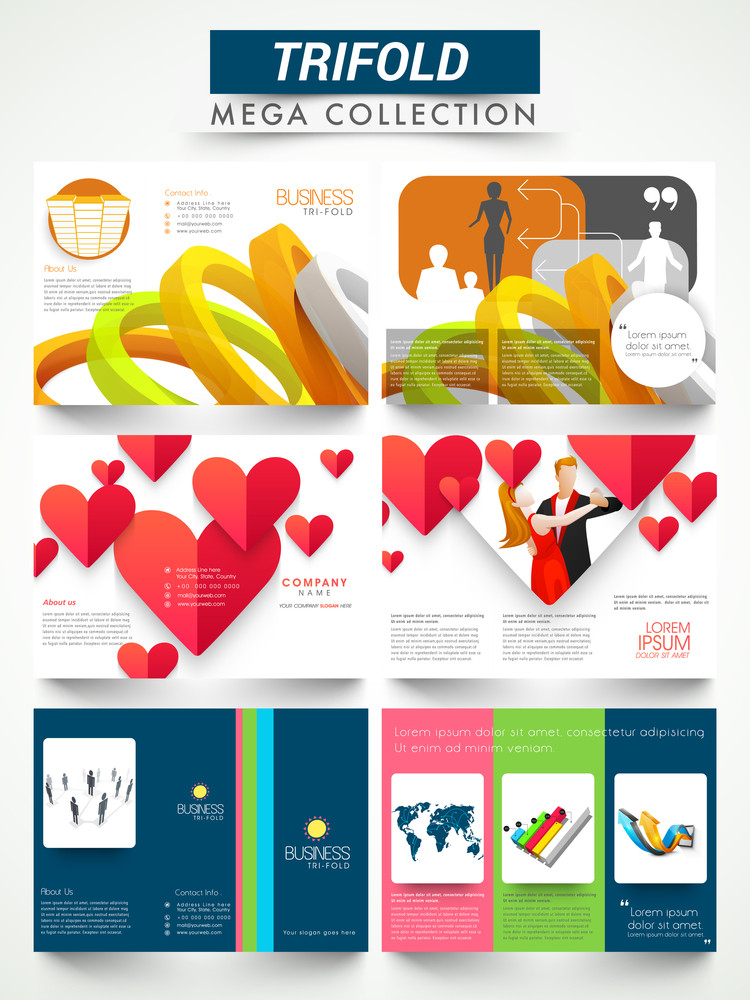 mega collection of three fold flyer template or brochure design for