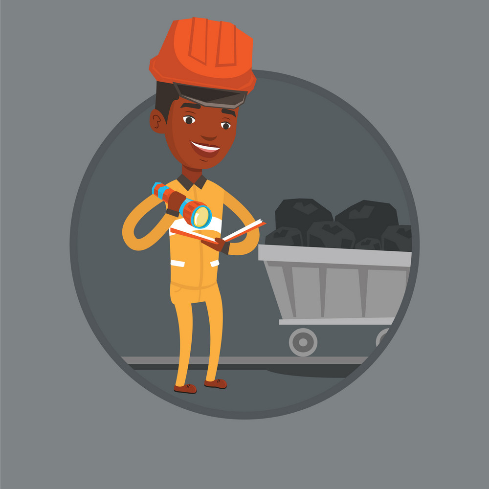 Miner checking documents with flashlight on the background of trolley with coal. Mine worker in hard hat. Miner in coal mine. Vector flat design illustration in the circle isolated on background.